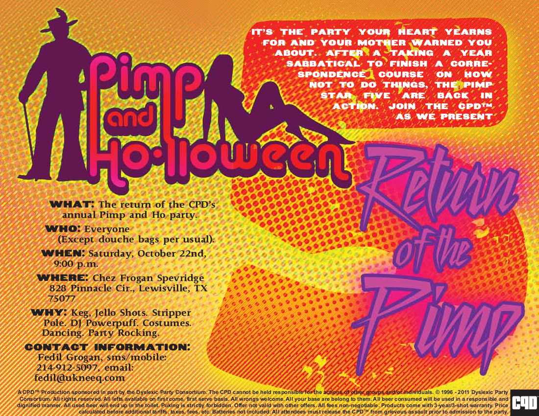 Official Flyer for the 2011 Pimp and Ho-lloween Party!
